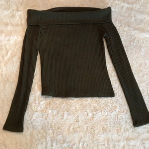 The Classic Dark Olive Long Sleeve Crop Top